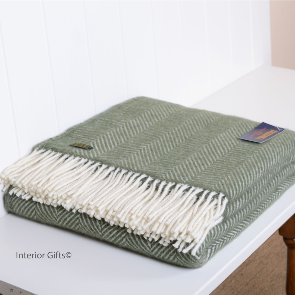 Olive Green Herringbone Pure New Wool Throw