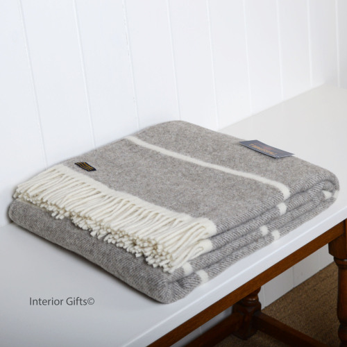 Peppery Grey & Cream Broadstripe Throw in soft Lambswool