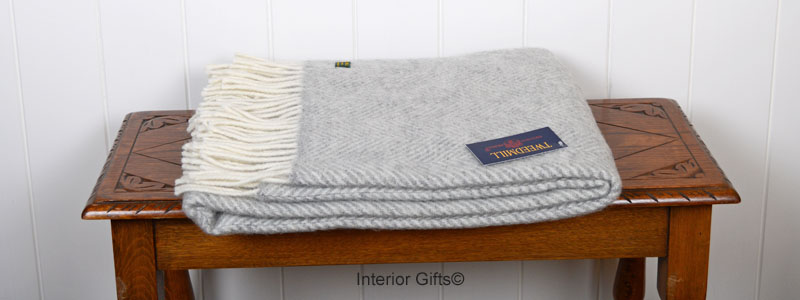 Knee Rug Tweedmill Grey Fishbone Herringbone