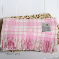 BRONTE BABY Menzies Pink Cot Blanket in supersoft Merino Lambswool