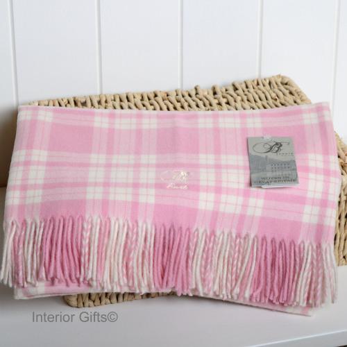 BRONTE BABY Menzies Pink Cot Blanket in supersoft Merino Lambswool