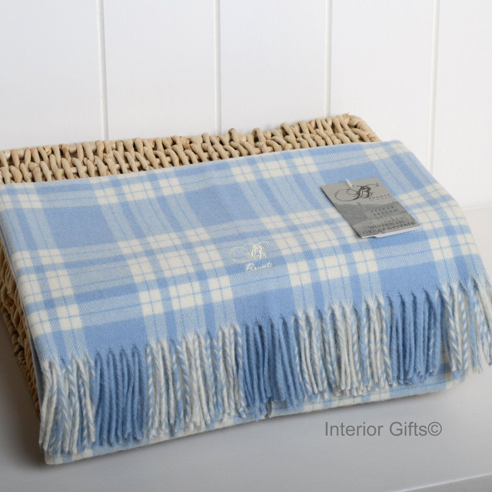 BRONTE BABY Menzies Blue Check Cot Blanket in supersoft Merino Lambswool