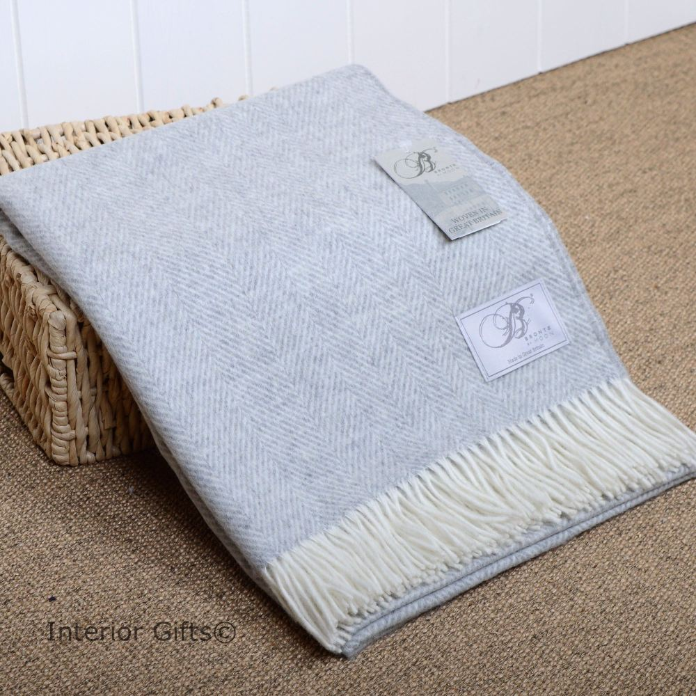 BRONTE by Moon Silver Grey Herringbone Throw in supersoft Merino Lambswool