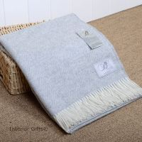BRONTE by Moon Silver Grey & Cream Herringbone Throw in Supersoft Merino Lambswool