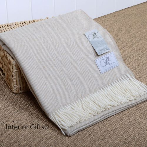 BRONTE by Moon Beige Herringbone Throw in supersoft Merino Lambswool