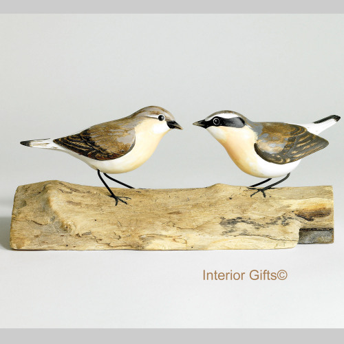 Archipelago Two Wheatear Birds Wood Carving