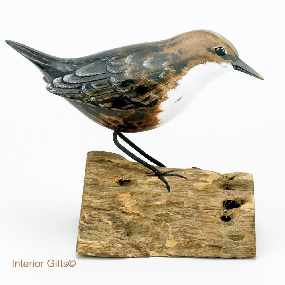 Archipelago Dipper Bird on Driftwood, Wood Carving