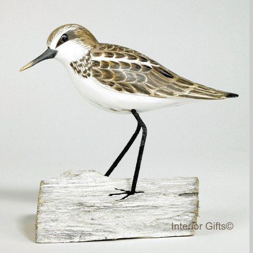 Archipelago Little Stint Standin on Driftwood, Wood Carving