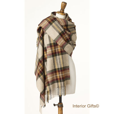 Bronte by Moon Check Wrap, Scarf or Stole in Merino Lambswool Ripon Olive