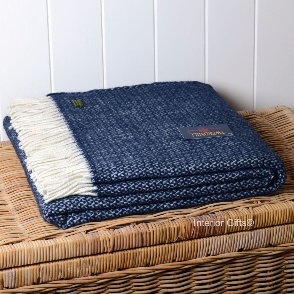 Tweedmill Navy Blue Illusion Weave Pure New Wool Throw