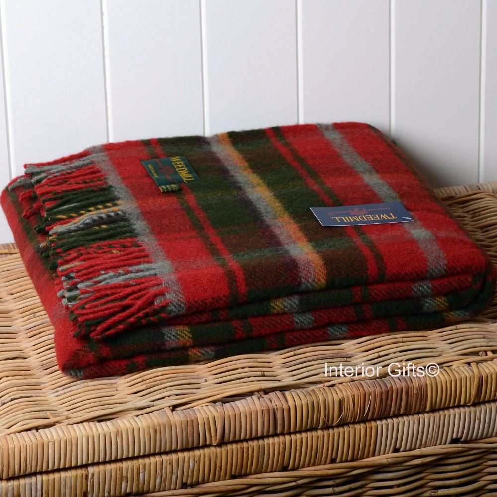 Tweedmill Red Dark Maple Check Plaid Pure New Wool Throw