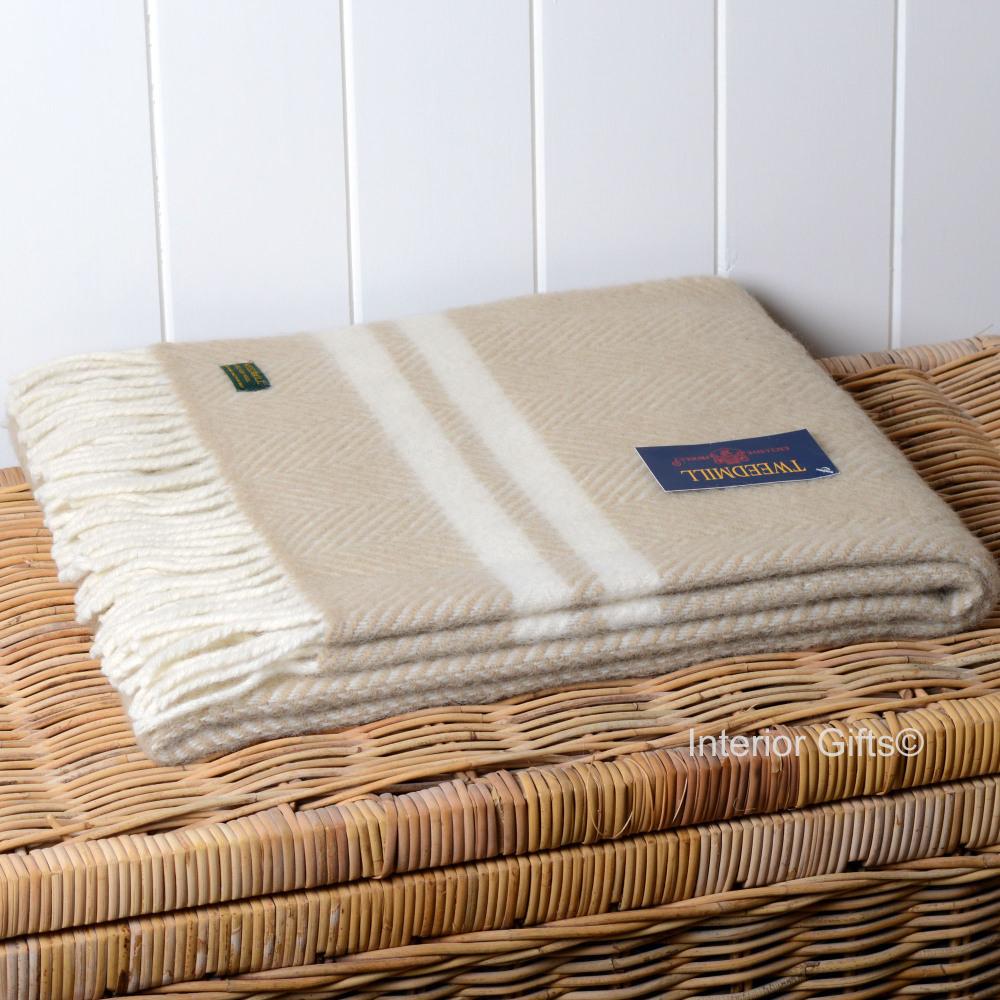 Knee Rug or Small Travel Rug in Beige & Cream Fishbone Pure New Wool