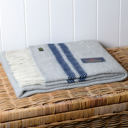 Knee Rug or Small Travel Rug in Grey & Navy Fishbone Pure New Wool