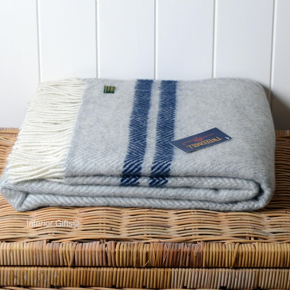 Tweedmill Grey & Navy Stripe Herringbone / Fishbone Pure New Wool Throw