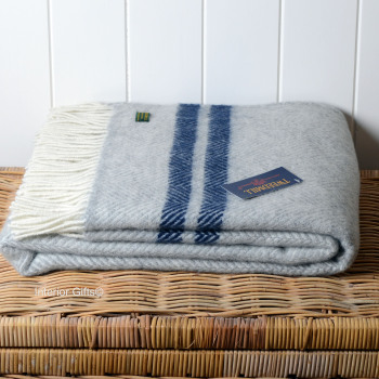 Tweedmill Silver Grey & Navy Stripe Herringbone Pure New Wool Throw Blanket