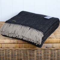 Tweedmill Charcoal Black & Beige Herringbone Pure New Wool Throw Blanket