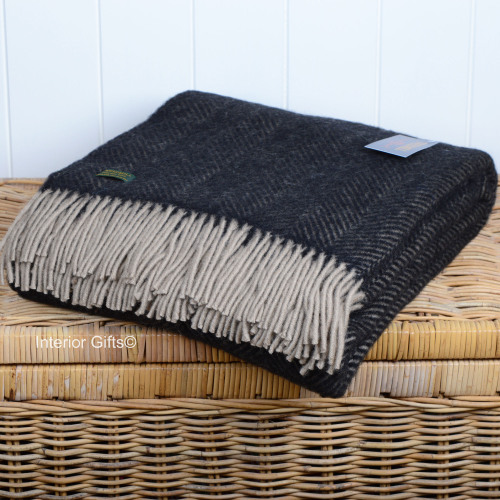 Tweedmill Vintage Charcoal Black and Beige Herringbone / Fishbone Pure New