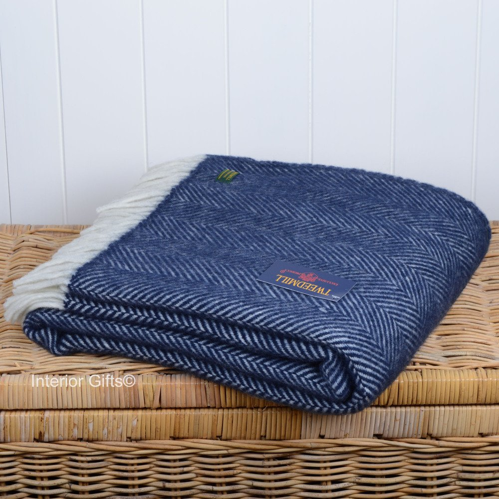 Tweedmill Fishbone Throw In Navy Blue With Cream Fringe In