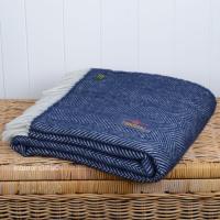 Tweedmill Navy Blue Herringbone Pure New Wool Throw Blanket