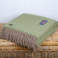 Tweedmill Subtle Green & Beige Herringbone Pure New Wool Throw Blanket