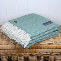 Tweedmill Aqua Green Herringbone Pure New Wool Throw Blanket