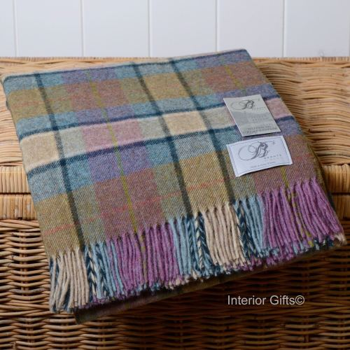 BRONTE by Moon Dales Gargrave Heather Throw in 100% Shetland Pure New Wool
