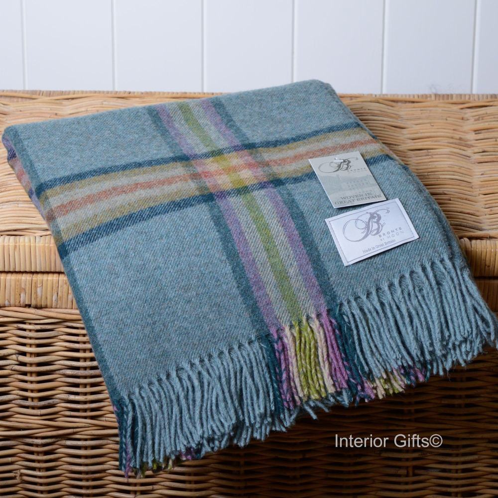 BRONTE by Moon Dales Settle Heather Blue Throw in 100% Shetland Pure New Wo