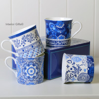 Blue & White Fine Bone China Mugs - Set 4