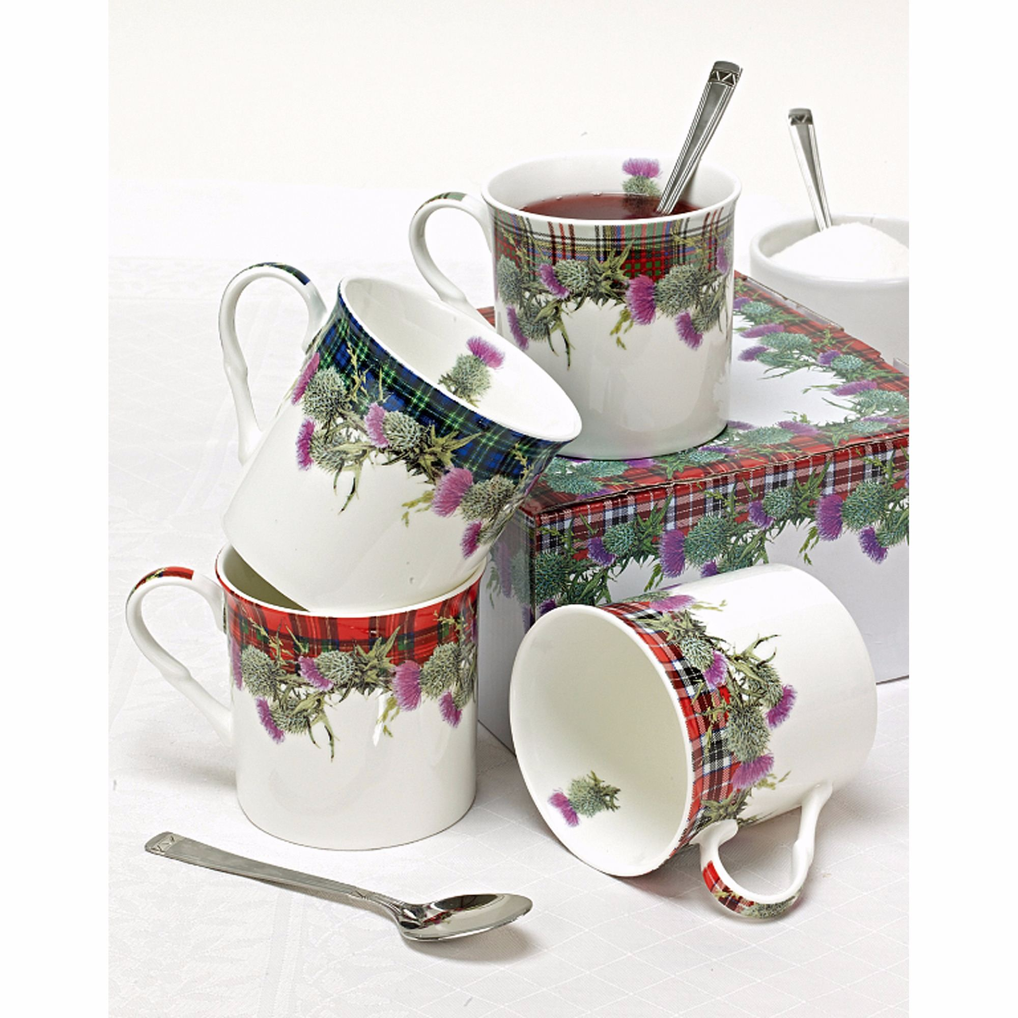 Thistle Tartan Mugs in Fine China Gift Boxed
