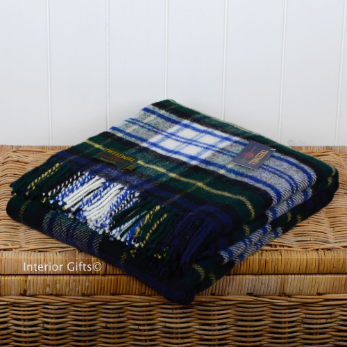 Tweedmill Dress Gordon Tartan Check Blue Picnic / Throw / Travel Rug / Blan