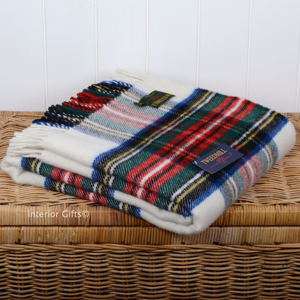 Wool Tartan Throw Tweedmill Dress Stewart Check Plaid Pure