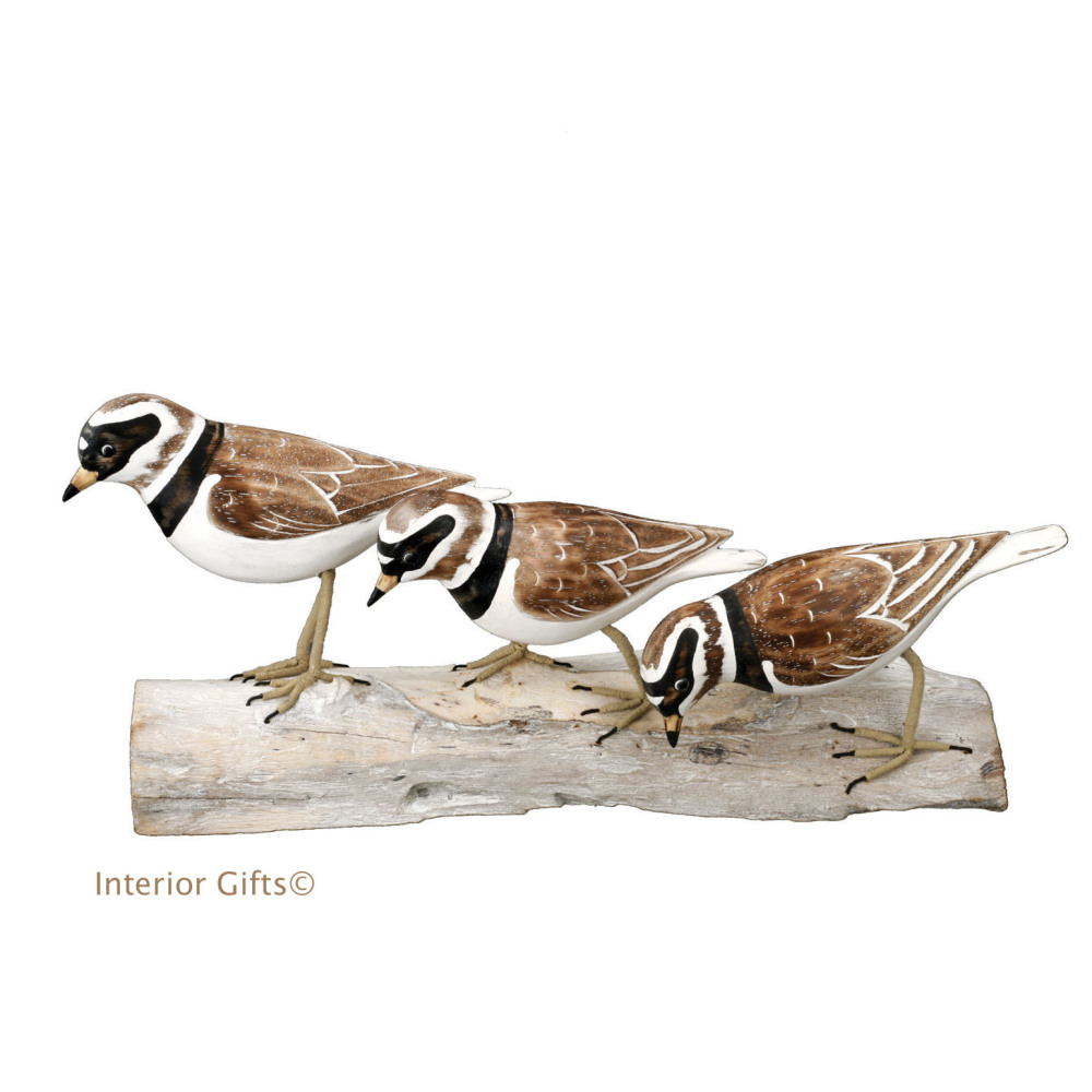 Archipelago 'Plovers Block' Three Plovers Wood Carving