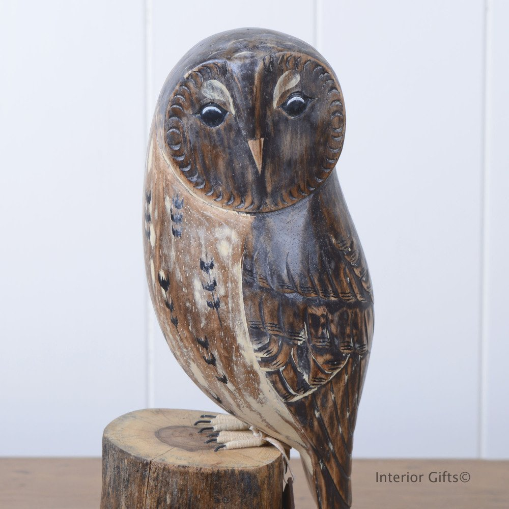 Archipelago Tawny Owl D223 On Tree Stump Bird Wood Carving Wildlife