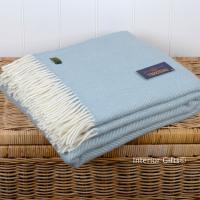 Tweedmill Duck Egg Blue Herringbone Pure New Wool Throw Blanket