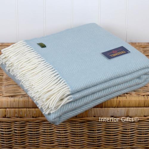 Tweedmill Duck Egg Blue Herringbone / Fishbone Pure New Wool Throw