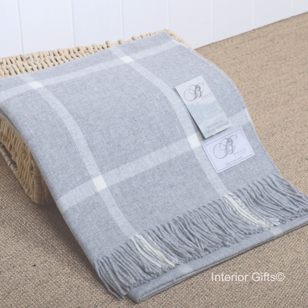 BRONTE by Moon Grey Windowpane Throw in supersoft Merino Lambswool