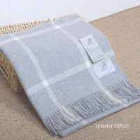 BRONTE by Moon Silver Grey & Cream Windowpane Throw in Supersoft Merino Lambswool