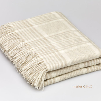 BRONTE by Moon Prince of Wales Check Beige Throw in supersoft Merino Lambswool