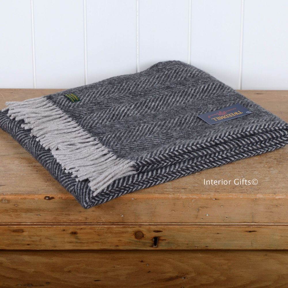 Tweedmill Knee Rug or Small Travel Rug in Charcoal & Silver Pure New Wool