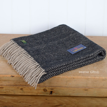 Tweedmill Charcoal Black & Beige Herringbone Knee Rug or Small Blanket Throw Pure New Wool