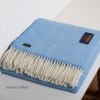 Tweedmill Sky Blue Herringbone Pure New Wool Throw Blanket