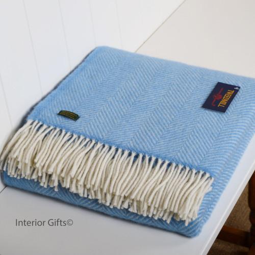 Tweedmill Sea Blue Herringbone / Fishbone Pure New Wool Throw
