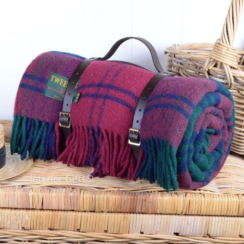 Wool Rolled Picnic Rug Blanket In Lindsey Tartan With Leather Carry Strap
