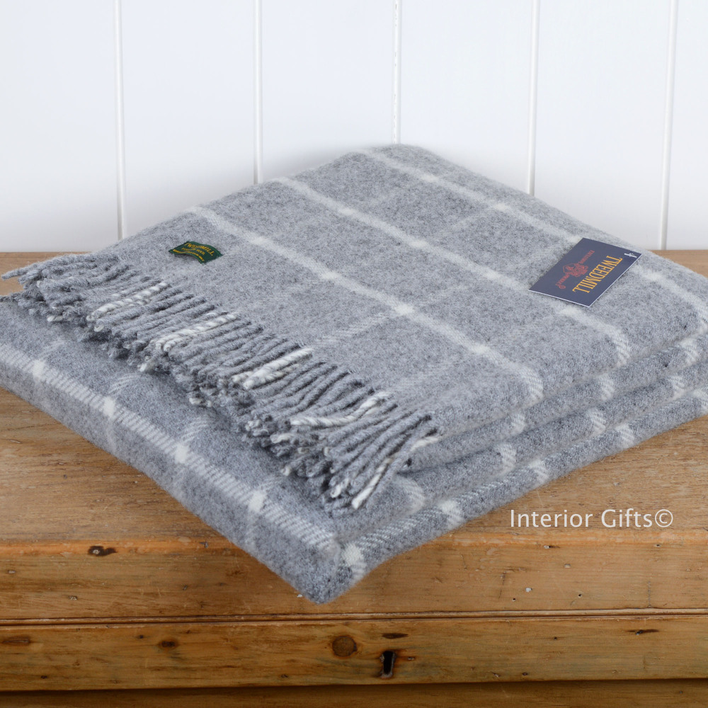 Tweedmill Grey Chequered Check Pure New Wool Throw