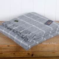 Tweedmill Grey Classic Check Windowpane Pure New Wool Throw Blanket