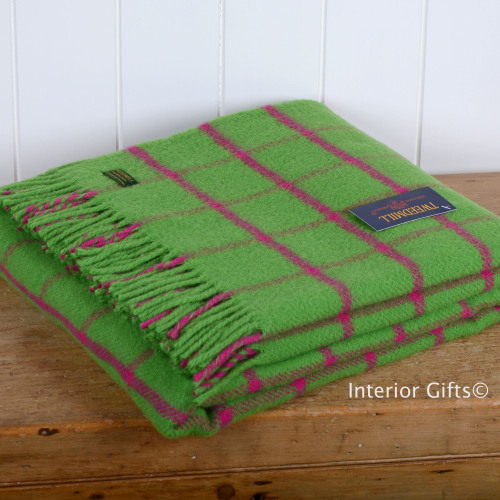 Tweedmill Bright Green Chequered Check Pure New Wool Throw