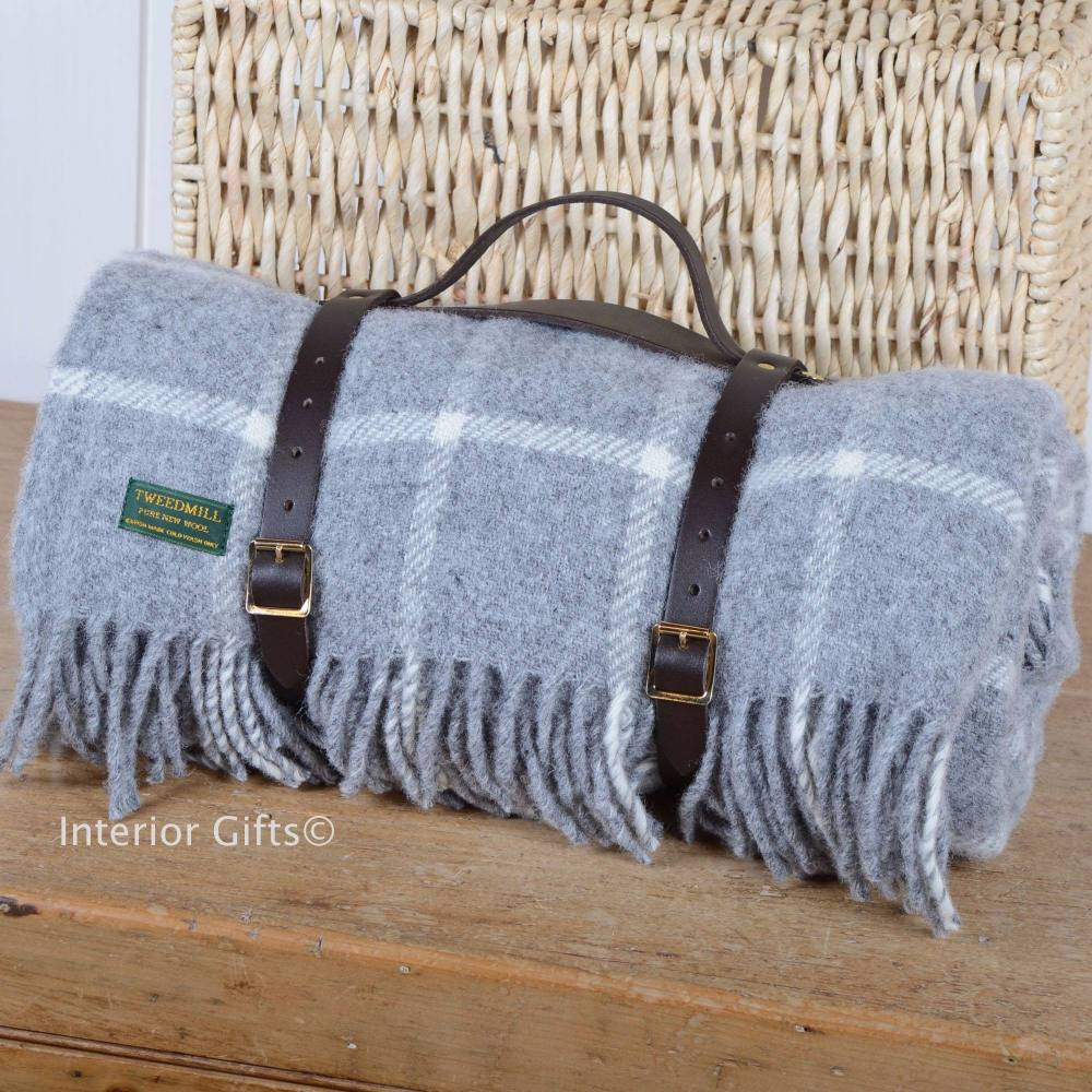 Grey Chequered Check Wool Picnic Blanket or Rug with Leather Carry Strap