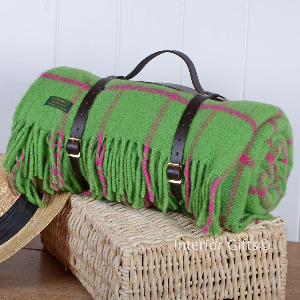 Grey Chequered Bright Green & Pink Wool Picnic Blanket or Rug with Leather