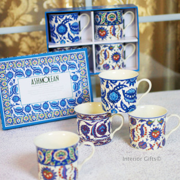 Empress Iznic Blue and Cream Fine China Mugs in Gift Box