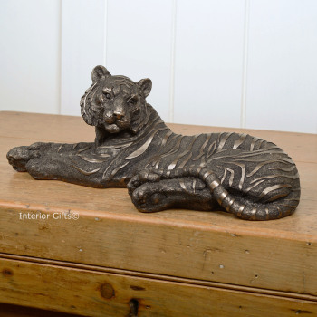 Magnificent Tiger Frith Bronze Sculpture by Mitko Kavrikov